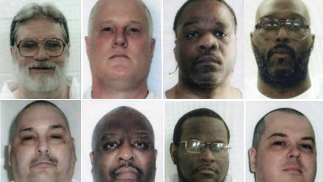 A handout photo made available by the Arkansas Department of Corrections shows undated file photos provided on 14 April 2017 of Arkansas death row inmates who are or were scheduled to be executed by lethal injection before the end of the month and before the expiration date for one of the drugs that will be used. Pictured, top row from left are: Bruce Earl Ward, Don W. Davis, execution date 17 April; Ledell Lee, Stacey Johnson, execution date 20 April. Bottom row from left are Jack Jones Jr., Marcel Williams, execution date 24 April; Kenneth Williams, execution date 27 April. Jason McGehee was scheduled for execution on 27 April until a judge issued a stay. The seven scheduled executions for one month is a record for Arkansas.