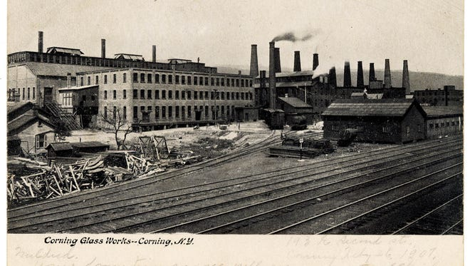 A postcard featuring Corning Glass Works, postmarked in 1907.