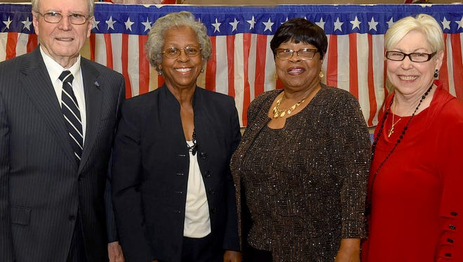 Lifetime Achievement Award recipients, from left, Rhyn Duplechain,  Patricia Hertzog, Cheryl C. Milburn and Patty Kempf. The awards were presented Thursday at the sixth annual St. Landry Democrats Executive Committee Lifetime Awards Banquet.