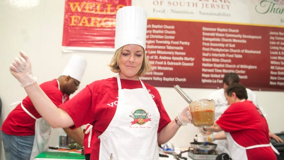 Members of the Wells Fargo team compete in the Food