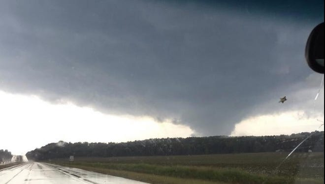 Submitted photo of a funnel cloud in McNairy County on Monday afternoon.