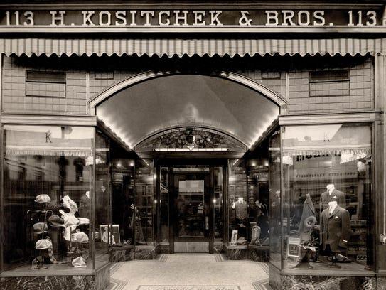 Exterior of H. Kositchek & Bros., circa 1917.