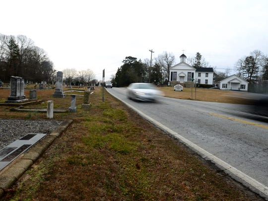Years in the making, the project to widen Batesville Road has required rerouting the road around Ebenezer United Methodist Church, whose historic cemetery is too close to the road's edge.