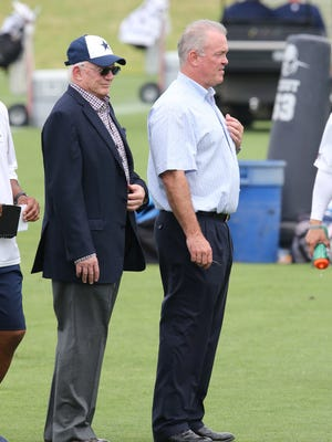 Dallas Cowboys owner Jerry Jones with chief operating officer Stephen Jones during organized team activities at Dallas Cowboys Headquarters.