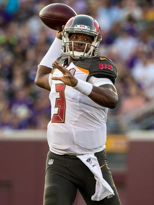 Tampa Bay Buccaneers quarterback Jameis Winston (3) throws during the first quarter in a preseason NFL football game against the Minnesota Vikings at TCF Bank Stadium.