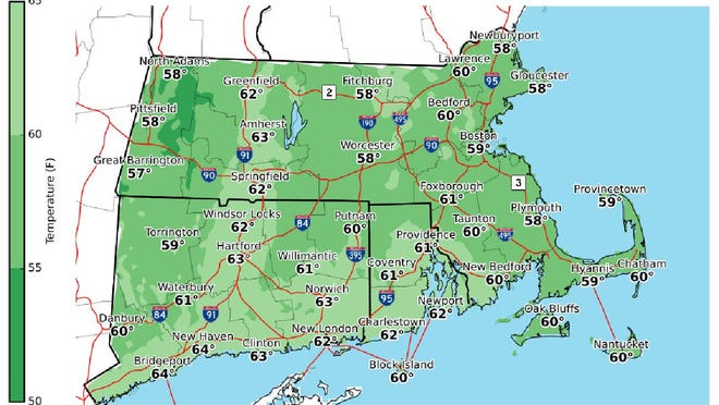 Afternoon high temperatures Sunday.