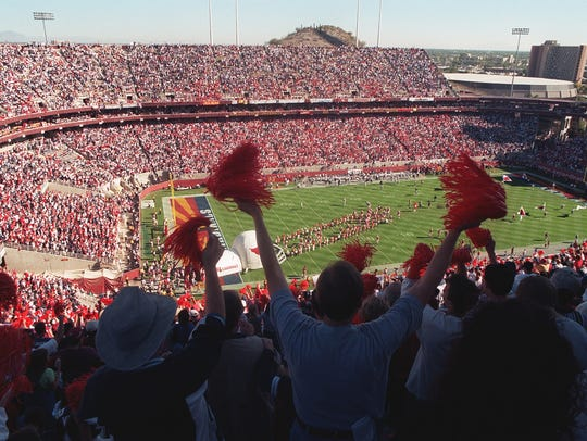 A sold out Sun Devil Stadium greets the Cardinals as