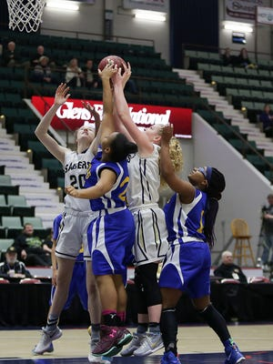 Mara Donnelly (20), Alexis Drake and the rest of Susquehanna Valley's girls were far too much for Bronx Aquinas in Sunday's Class B State Federation championship in Glens Falls.