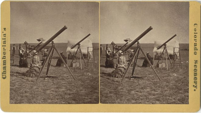 Total solar eclipses have always been a big deal. A stereograph of two female astronomers Maria Mitchell (left) and her former student Cora Harrison (center) along with Mitchell's sister Phebe made the strenuous journey from Vassar College in Arlington, N.Y., to Denver to observe an 1878 total solar eclipse. In 1848, Maria Mitchell became the first woman elected Fellow of the American Academy of Arts and Sciences.