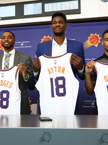 Phoenix Suns GM Ryan McDonough (right) introduces draft