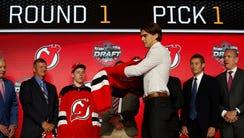 Center Nico Hischier, chosen by the New Jersey Devils