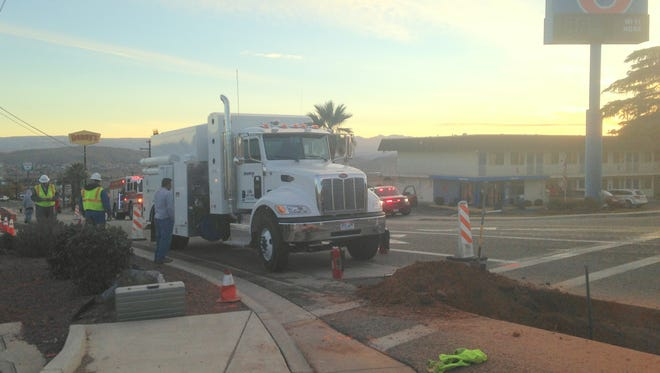 Work crews responded to a gas leak near the intersection of 1000 East and Red Cliffs Drive late Monday, Nov. 30, 2015.