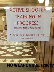 Sign advises visitors to state Capitol on Wednesday