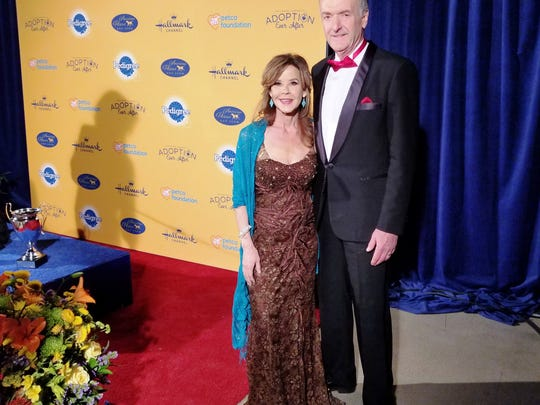 "David Alexander with actress Linda Blair, a celebrity judge on the ""2018 American Rescue Dog Show."""