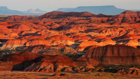 The Painted Desert portion of the Petrified Forest is in the northern section of the national park. The Petrified Forest occupies the southern end.