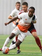 The Bucks' Andre Landell (front) scored his team-leading fifth goal in a 2-2 draw vs. Chicago United FC.