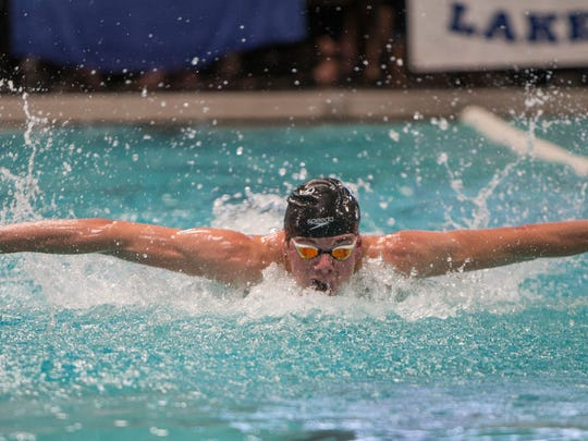 Truckee's Cooper DeRyk won the boys 3A 100 yard butterfly race during  the State Swimming Meet in Carson City on Saturday.