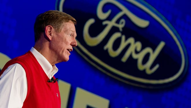 Alan Mulally, CEO of Ford, speaks at a trade fair for consumer electronics and electrical home appliances in Berlin on Sept. 6.