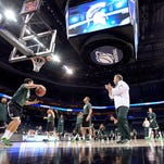 MSU NCAA men's  basketball practice in North Carolina