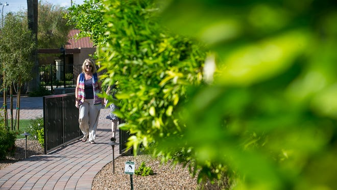Close Community Concepts owner Dana Close walks past fruit trees in her Scottsdale neighborhood that she helped xeriscape.