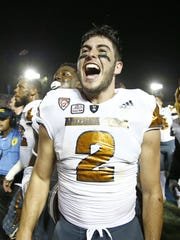 ASU's Mike Bercovici celebrates their win over UCLA on Oct. 3, 2015 at the Rose Bowl in Pasadena, CA.