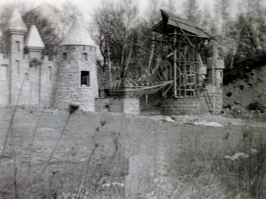 """The """"wooden"""" shoe at Fairy Tale Forest in West Milford, N.J. is seen during its initial framing in 1954."""