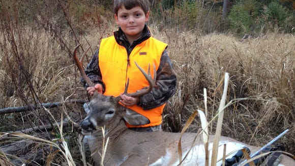 Clint Taylor, 9, of Caledonia, took this 7-point with a 7-08 at over 100 yards.