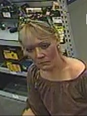 Close up photo of the woman suspected of a theft from Lowe's in Gallatin.