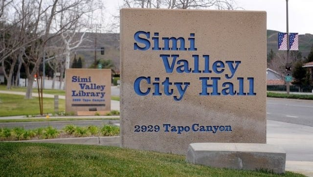 Sign outside Simi Valley City Hall.
