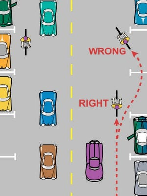 Bicyclists should not weave in and out of parked cars.