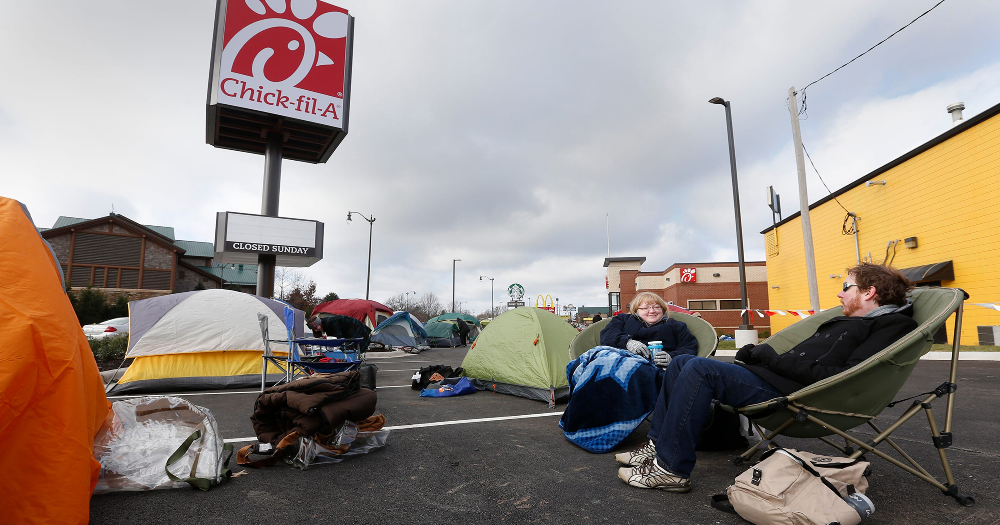 Tents go up in Chick-fil-A parking lot prior to opening