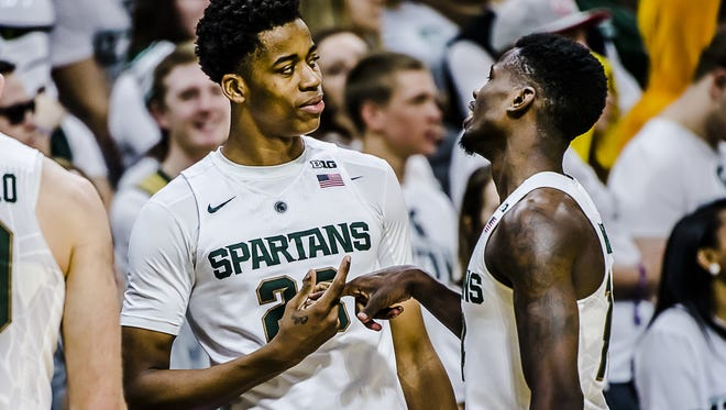 Deyonta Davis, left, and Eron Harris, right, figure to be critical pieces to next year's team, if Davis returns for his sophomore season.