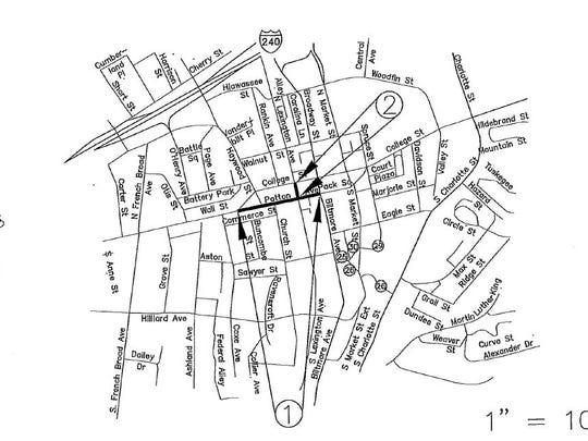 A map of planned downtown paving.