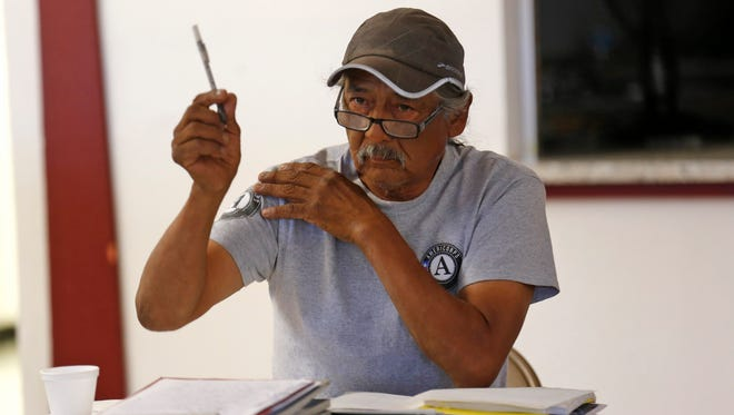 Joe Ben Jr., a former farm board member for the Shiprock Chapter,  speaks during a meeting July 5 at the Gadii'ahi-Tokoi Chapter house.