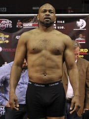 Roy Jones Jr. at the weigh-in for Island Fights 34 on March 29, 2015 at the Bay Center.