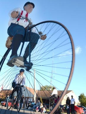 The Michigan Wheelmen will ride vintage bicycles, including penny-farthings, in the Victorian Parade in downtown Northville beginning 6:30 p.m. Friday.