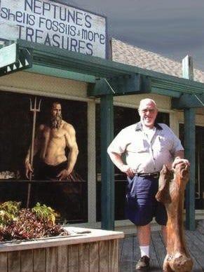 Ed Hanley in front of his Sanibel shop, Neptune's Treasures