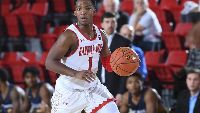 Jaheam Cornwall dribbles up the floor as Gardner-Webb takes on Coker in non-conference men's basketball action at Paul Porter Arena on Tuesday, Dec. 3, 2019, in Boiling Springs.