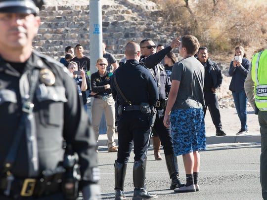 "DeAngelo Maestas is administered a sobriety test at the scene of a mock drunken driving crash near Oñate High School on Thursday March 15, 2018. Maestas was an actor in the ""Shattered Lives"" production."