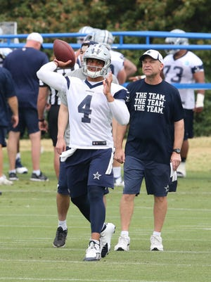 Dallas Cowboys quarterback Dak Prescott (4) throws as offensive coordinator Scott Linehan  watches during organized team activities at Dallas Cowboys Headquarters.