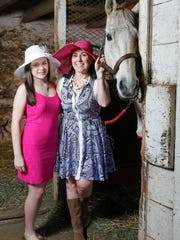 Jill wears a Trina Turk navy blue paisley dress from Ellie in Greenville and a hat from That's Hats in Chadds Ford. Mikki wears a Lilly Pulitzer magenta lace dress from Wilmington Country Store in reenville) and a hat from That's Hats.