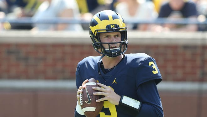 Michigan quarterback Wilton Speight in the spring game Saturday, April 15, 2017 at Michigan Stadium in Ann Arbor.