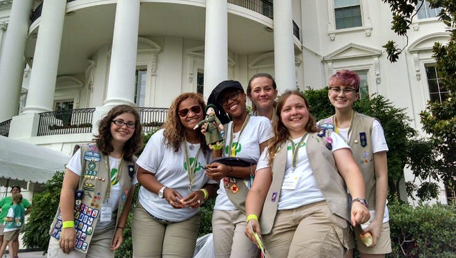 Ambassador Girl Scouts from Virginia Skyline Council arrive at the White House to setup the first-ever campout on the South Lawn. From left to right: Samantha Houck (Goode), Whitney White (Danville), Aniyah King (Danville), Chelsea Noel (Weyers Cave), Taylor Bauer (Staunton), Emma Pray (Elkton).