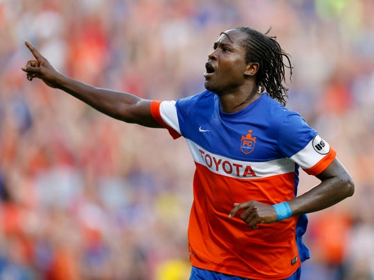 FC Cincinnati's Djiby Fall (9) celebrates his goal in the second half of the US Open Cup soccer match between FC Cincinnati and Columbus Crew at at at Nippert Stadium on June 14, 2017.