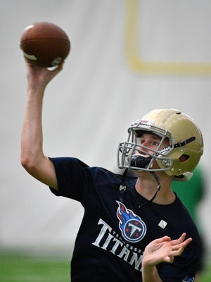 Independence QB Nathan Cisco makes a pass during the Titans 7-on-7 high school tournament held at Titans' practice facility. Wednesday July 12, 2017, in Nashville, TN