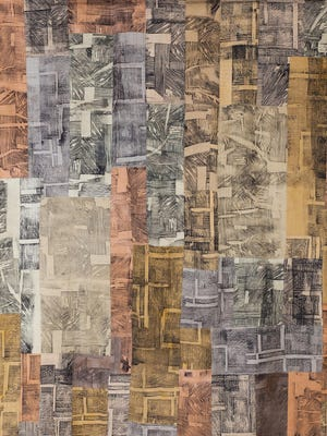 "Barb Wills' ""Land Marks #72 (2015)"" measures 85 by 72 inches and is hand-dyed Pimatex cotton printed with altered dyes and inks using woodcut blocks. The quilt is currently on display at the Stauth Memorial Museum in Montezuma. [Submitted["