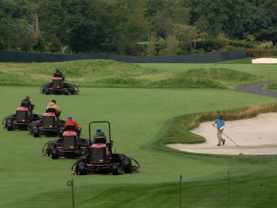 Preparations under way at Ridgewood Country Club before The Barclays in 2014.