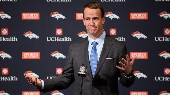 Denver Broncos quarterback Peyton Manning during his