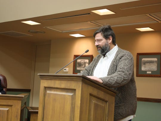 Joe Wahler, a member of new political action committee Loveland Community Heartbeat, addresses Loveland City Council. The PAC is looking to support candidates who display fiscal responsibility and support community building initiatives.