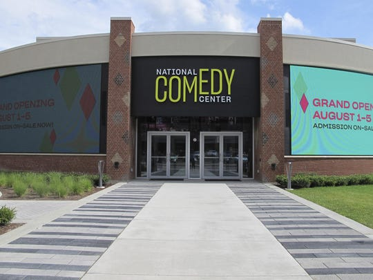 The main entrance to the National Comedy Center in Jamestown, N.Y. is shown. The center was inspired by the late Lucille Ball, who wanted her hometown to be a destination for people to learn about and celebrate comedy as an art form.